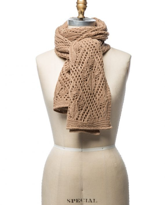 Light brown soft wool crocheted lady scarf