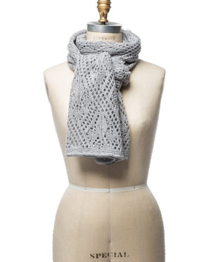 Light grey soft wool crocheted lady scarf