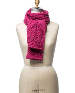 Berry pink soft wool crocheted lady scarf