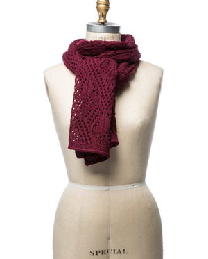 Burgundy soft wool crocheted lady scarf