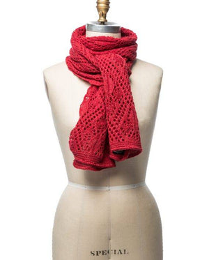 Red soft wool crocheted lady scarf