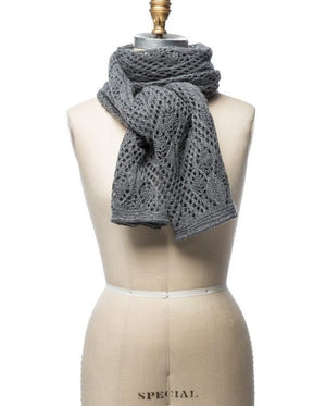 Grey soft wool crocheted lady scarf