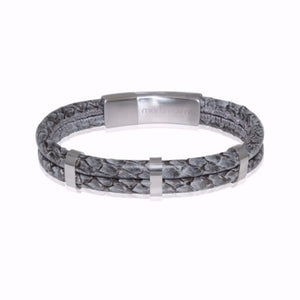 Atlantic Salmon Leather Double Cord Bracelet ▪ Grey