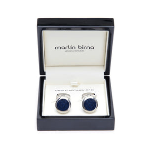 Atlantic Salmon Leather Cufflinks Silver-Tone ▪ Dark Blue