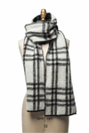White and grey checkered men´s wool scarf
