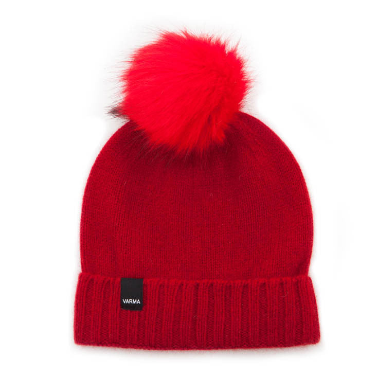 red wool children beanie with red faux fur pom