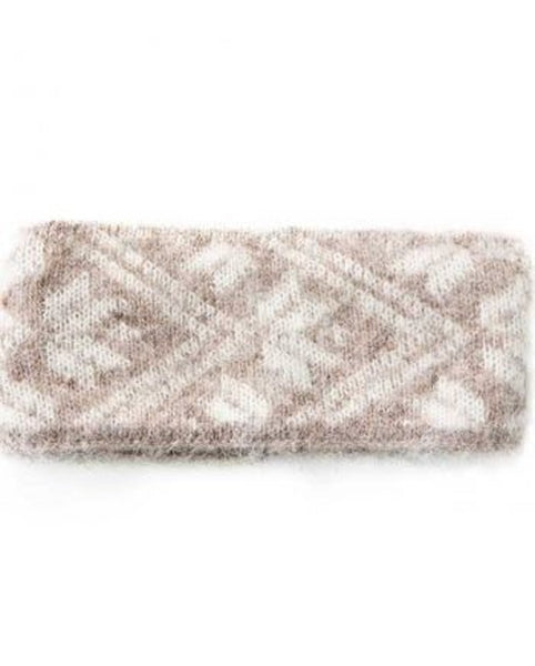 Beige and white brushed Icelandic wool headband