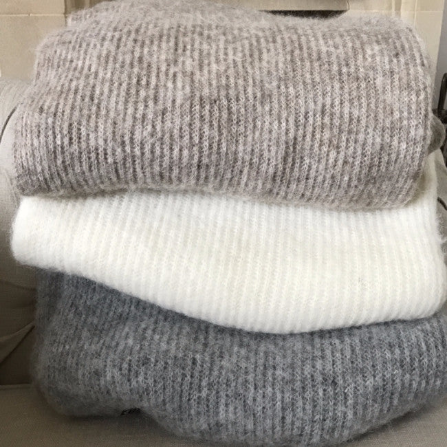 brown, white and grey wool throw from varma