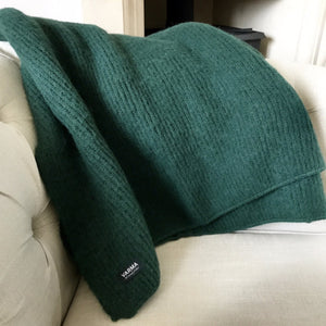 dark green brushed wool blanket from Iceland