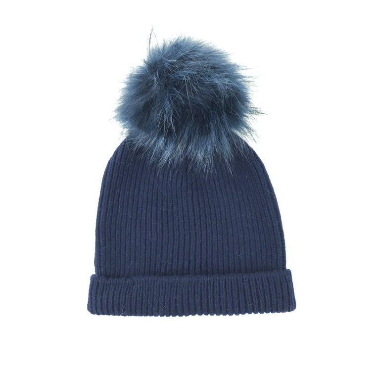 Navy blue wool hat with blue faux fur pom pom