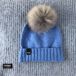 blue toddlers wool beanie with grey faux fur pom VARMA wool kids beanie