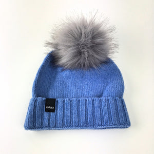 blue toddlers woollen beanie with grey faux fur pom pom Varma childrens beandie