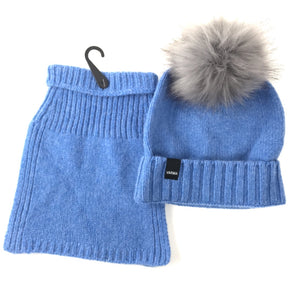 blue childrens woollen beanie and snood VARMA wool hat and snood for toddlers