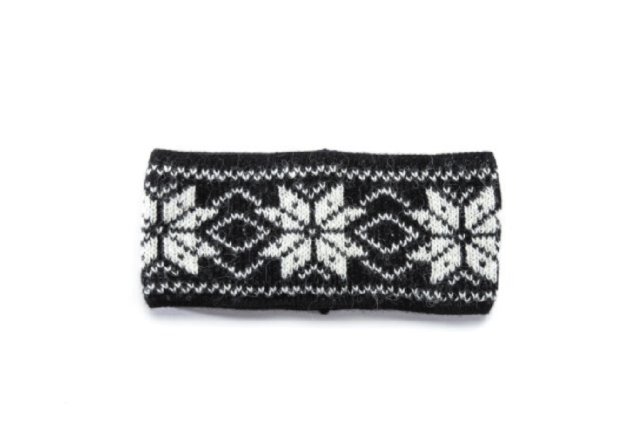 Black soft wool headband with white nordic pattern