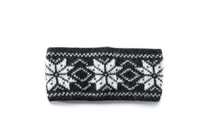 Dark grey soft wool headband with white nordic pattern