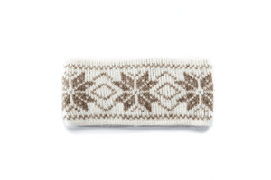 Beige soft wool headband with light brown nordic pattern