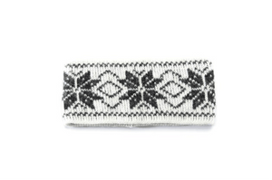 White soft wool headband with grey nordic pattern