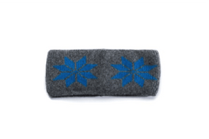 Grey headband with blue nordic patter