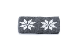 Grey headband with white nordic pattern