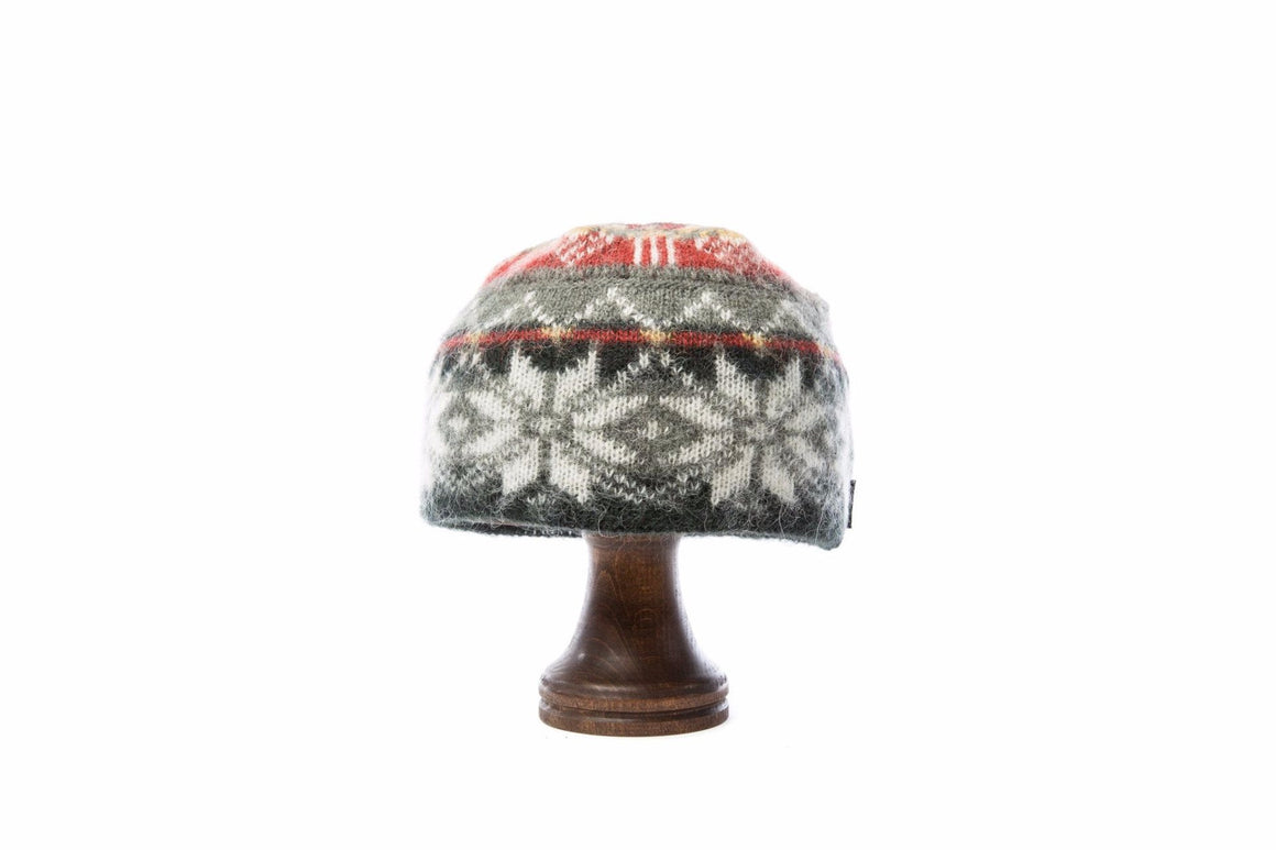 Light and dark green brushed wool ladies hat with white and red nordic pattern