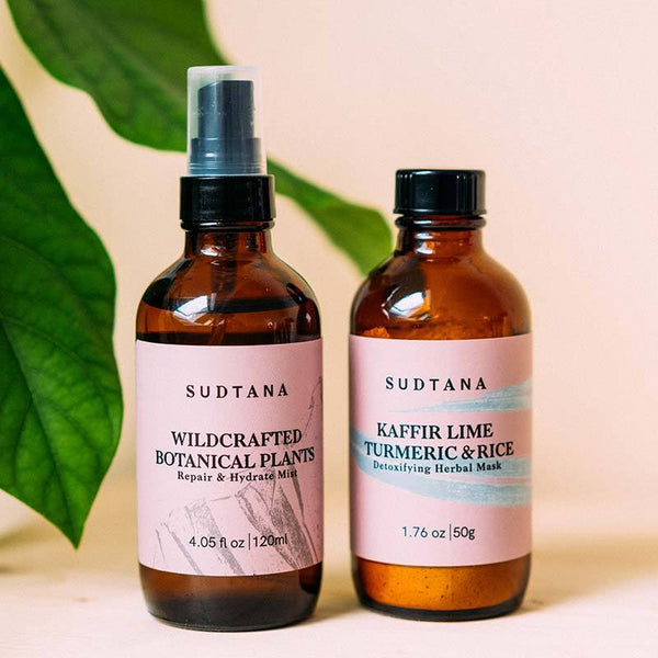 Detoxifying Herbal Facial Mask & Invigorating Facial Mist set - Sudtana