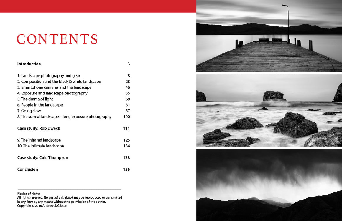 The Black & White Landscape ebook contents page