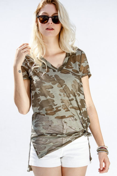 V Neck Camouflage Tee