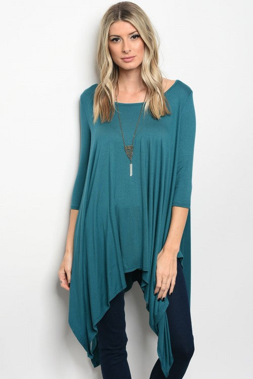 Teal Long Tunic Top