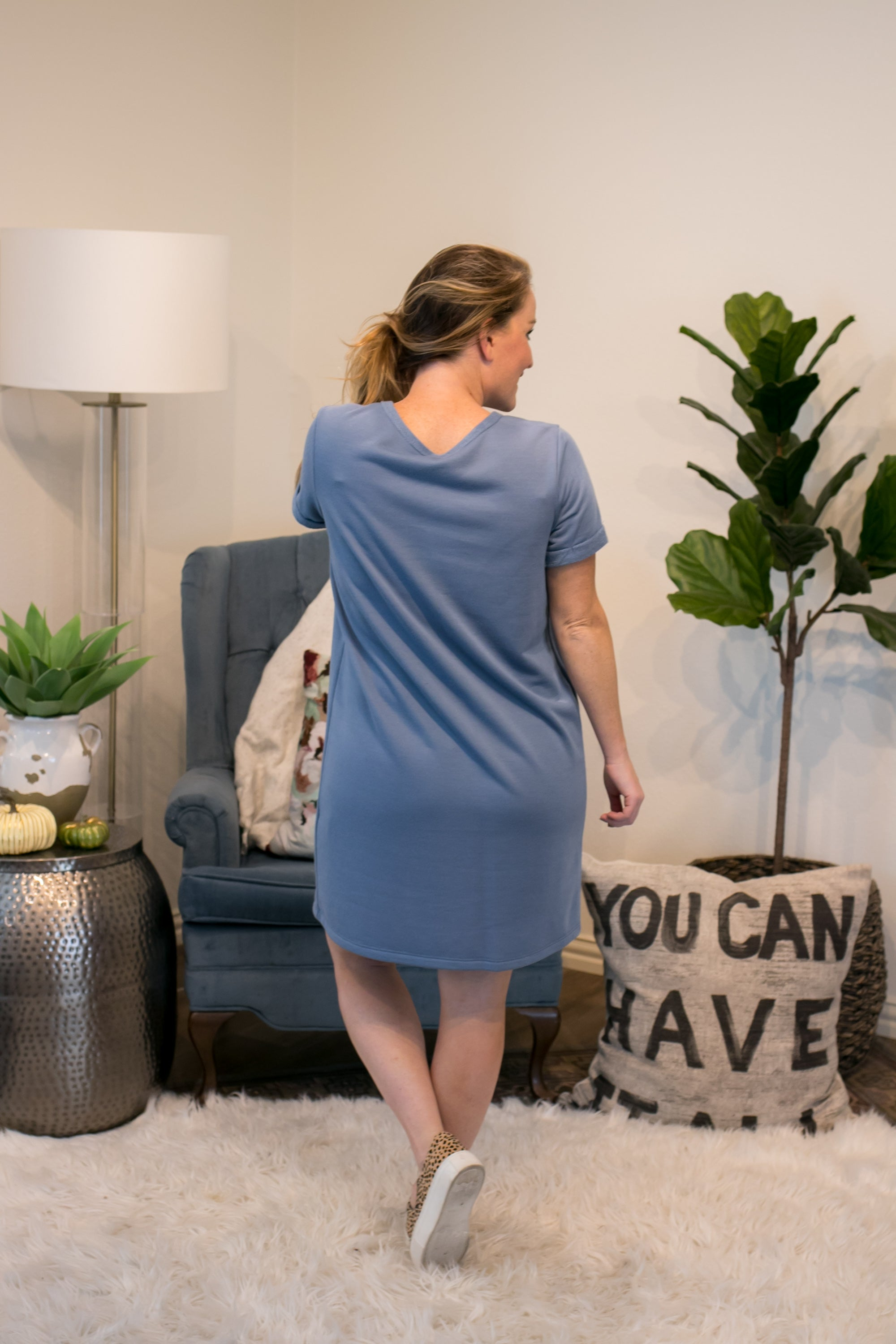 Chambray Terry Dress