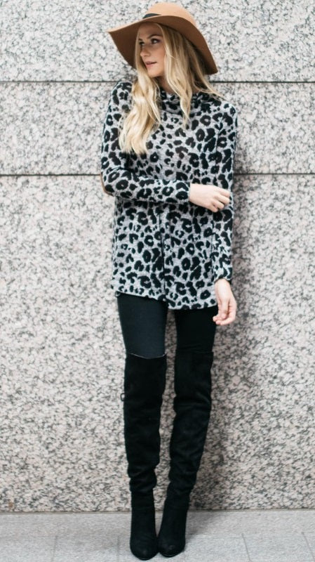 Cowl Neck Animal Tunic