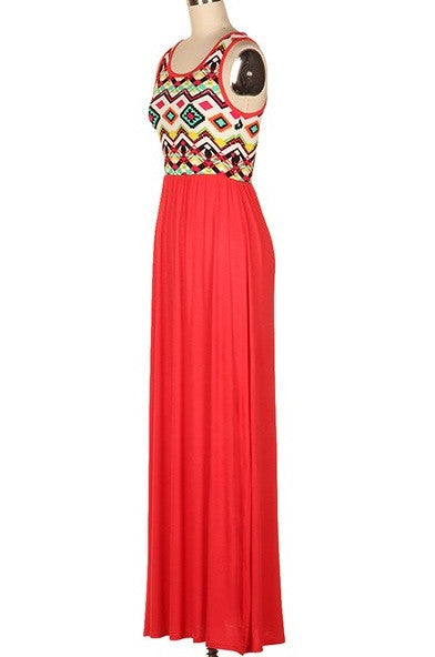 Intricate Imagination Dress, Coral