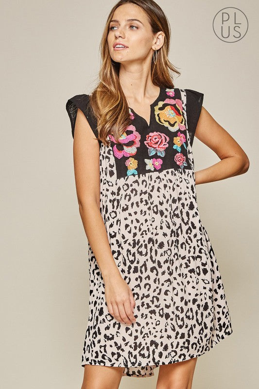 Embroidered Leopard Dress +