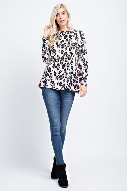 Animal Printed Fucshia Sweater