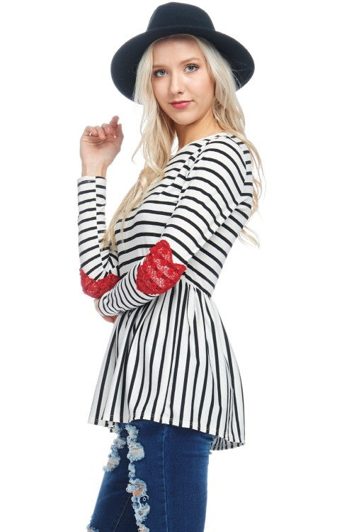 Stripe Heart Patch Top