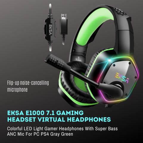 Eksa E1000 7.1 LED Gaming Headset with Noise Cancelling Mic - American Music