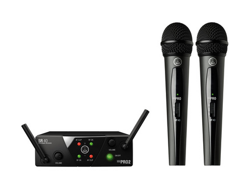 AKG WMS40 Mini Dual Vocal Set Wireless Microphone System - American Music