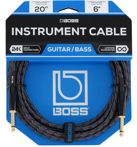 Boss BIC-20 20ft/6m Instrument Cable, Straight/Straight - American Music