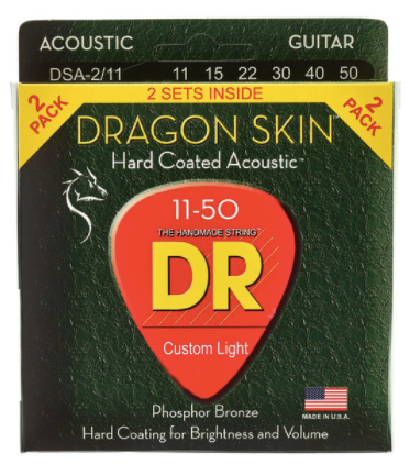 DR Dragon Skin Hard Coated Acoustic Guitar Strings, 2-Pack