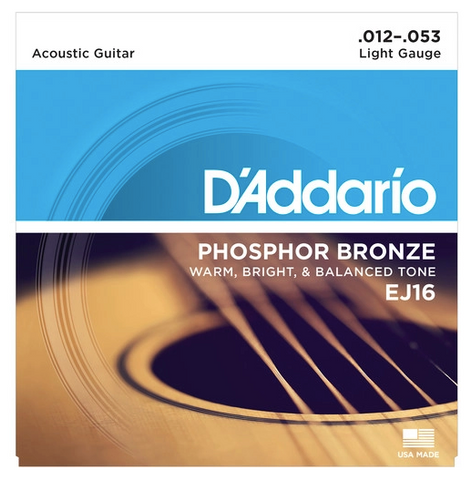 D'Addario EJ16 Light Phosphor Bronze Acoustic Guitar Strings, 12-53 - American Music