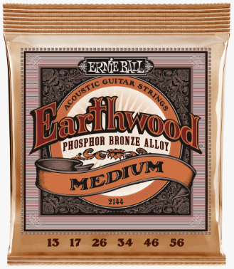 Ernie Ball Earthwood Phosphor Bronze Acoustic Guitar Strings - 13-56 Medium - American Music