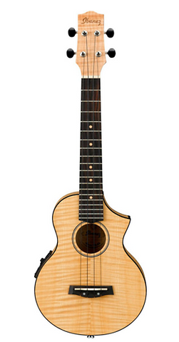 Ibanez UEW12E Flame Maple Concert Ukulele - Natural - American Music