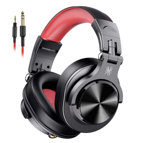 OneOdio® A71 Wired Bass Headphones - Red - American Music