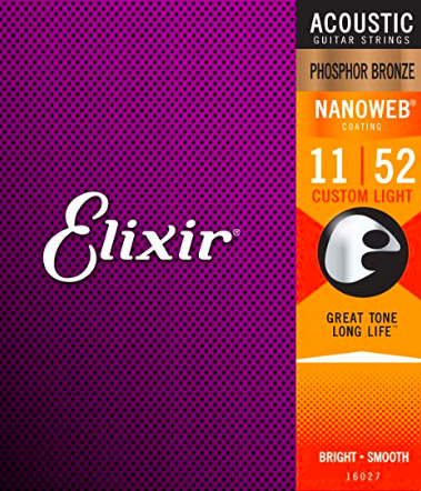Elixir Acoustic Guitar Strings-Custom Light 11 Gauge