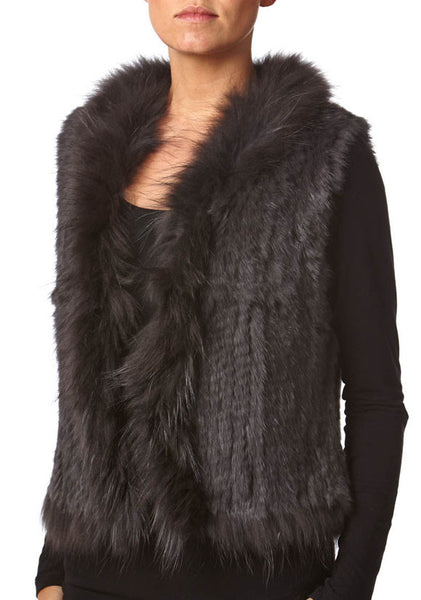 Anna Dark Grey Rabbit & Raccoon Real Fur Gilet - Hygge & Fur