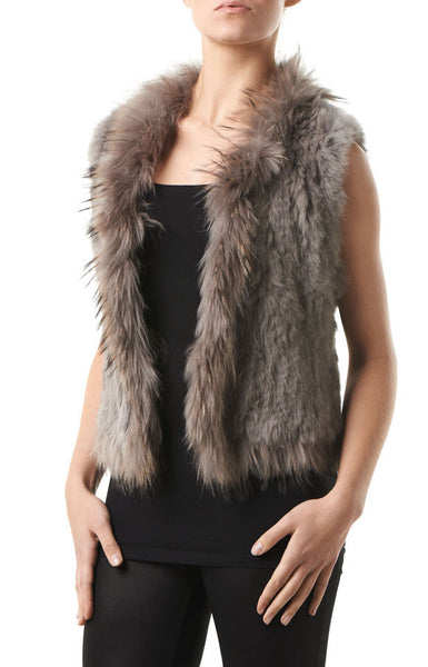 Anna Taupe Rabbit & Raccoon Real Fur Gilet - Hygge & Fur
