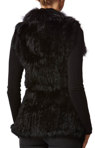 Sarah Black Rabbit & Raccoon Real Fur Gilet - Hygge & Fur