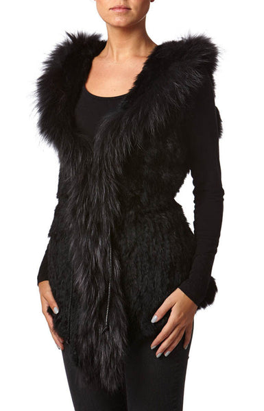 Sarah Real Rabbit & Raccoon Black Fur Gilet - Hygge & Fur