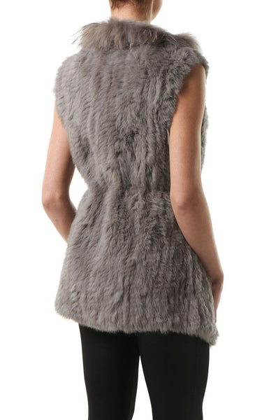 Sarah Taupe Rabbit & Raccoon Real Fur Gilet - Hygge & Fur