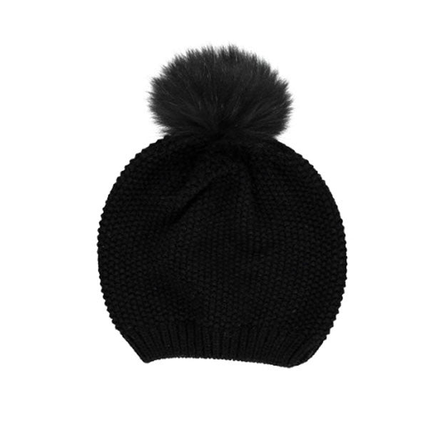 Stella Wool & Real Raccoon Fur Bobble Hat - Black - Hygge & Fur