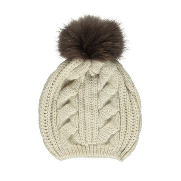 Stine Wool & Real Raccoon Fur Bobble Hat - Beige & Brown - Hygge & Fur